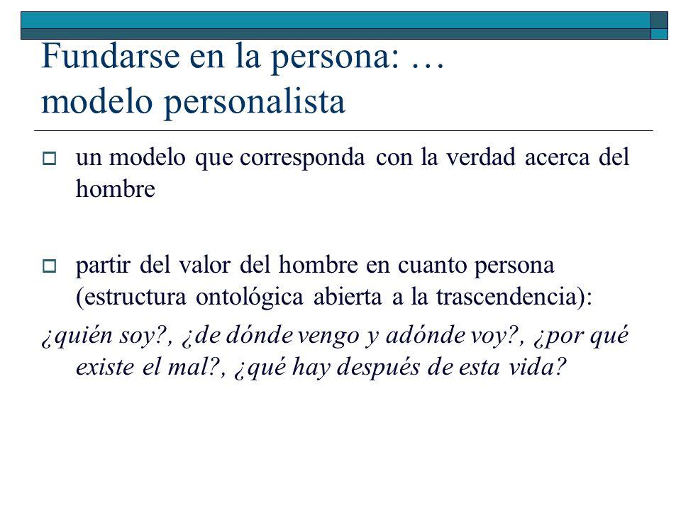 Fundarse en la persona: … modelo personalista un modelo que corresponda con la verdad acerca del hombre partir del valor del hombre en cuanto persona
