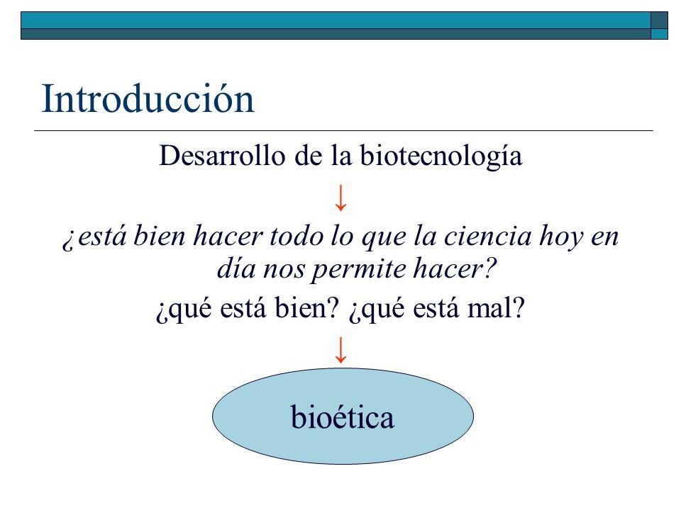 Introducción Desarrollo de la biotecnología ¿está bien hacer todo lo que la ciencia hoy en día nos permite hacer? ¿qué está bien? ¿qué está mal? confu