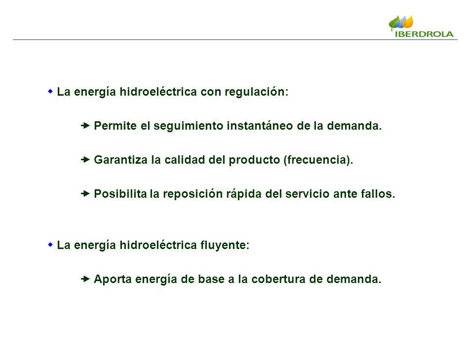La energía hidroeléctrica con regulación: Permite el seguimiento instantáneo de la demanda.