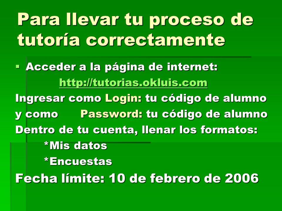 Para llevar tu proceso de tutoría correctamente Acceder a la página de internet: Acceder a la página de internet: http://tutorias.okluis.com http://tutorias.okluis.comhttp://tutorias.okluis.com Ingresar como Login: tu código de alumno y como Password: tu código de alumno Dentro de tu cuenta, llenar los formatos: *Mis datos *Encuestas Fecha límite: 10 de febrero de 2006