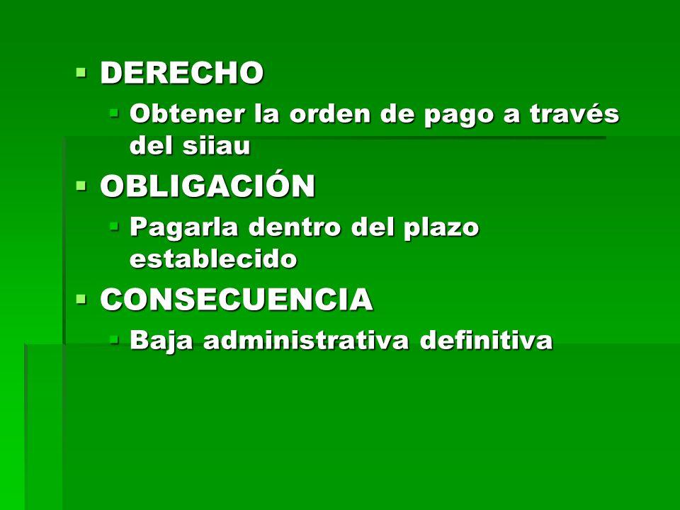 DERECHO DERECHO Obtener la orden de pago a través del siiau Obtener la orden de pago a través del siiau OBLIGACIÓN OBLIGACIÓN Pagarla dentro del plazo establecido Pagarla dentro del plazo establecido CONSECUENCIA CONSECUENCIA Baja administrativa definitiva Baja administrativa definitiva