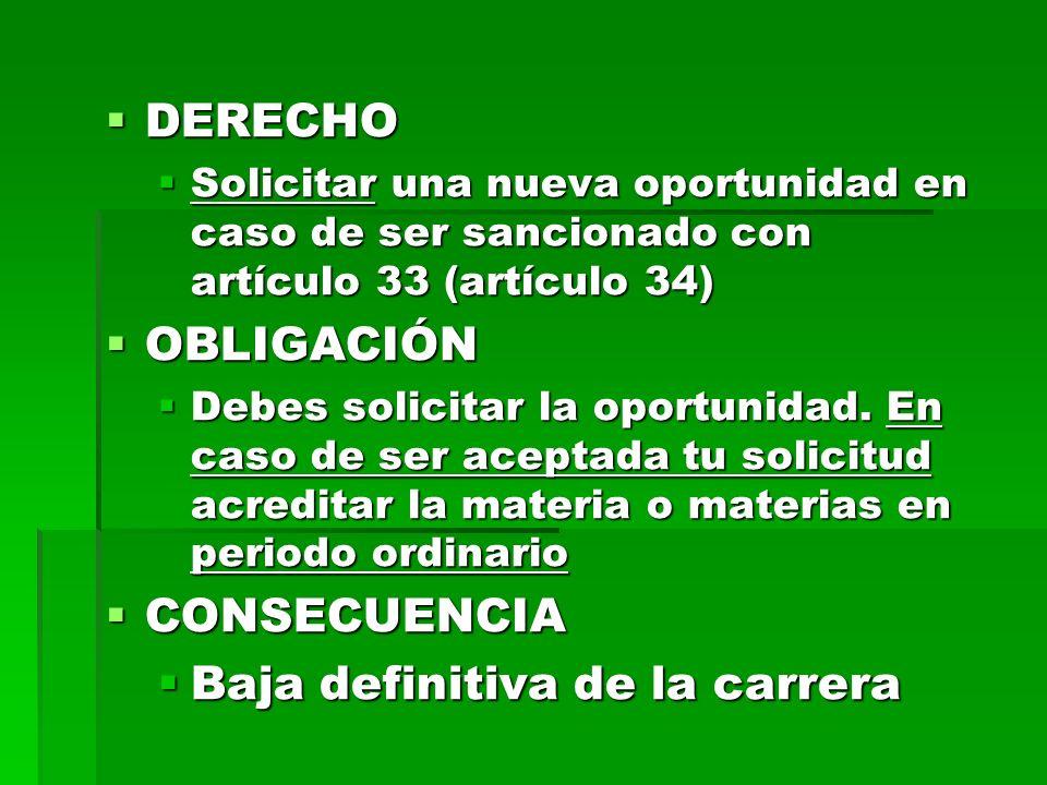 DERECHO DERECHO Solicitar una nueva oportunidad en caso de ser sancionado con artículo 33 (artículo 34) Solicitar una nueva oportunidad en caso de ser sancionado con artículo 33 (artículo 34) OBLIGACIÓN OBLIGACIÓN Debes solicitar la oportunidad.