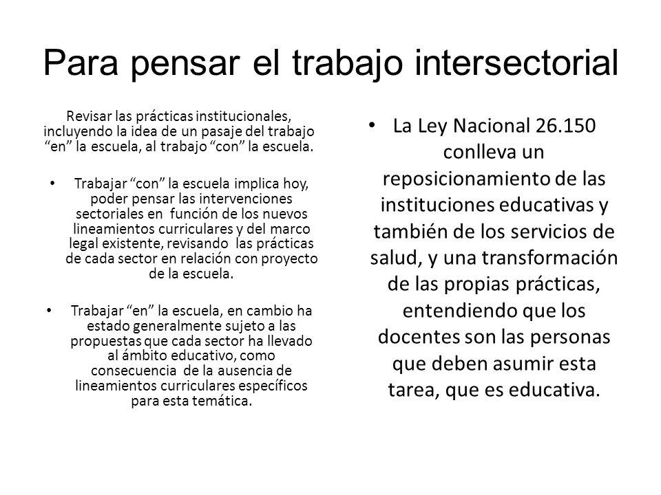 Para pensar el trabajo intersectorial Revisar las prácticas institucionales, incluyendo la idea de un pasaje del trabajo en la escuela, al trabajo con