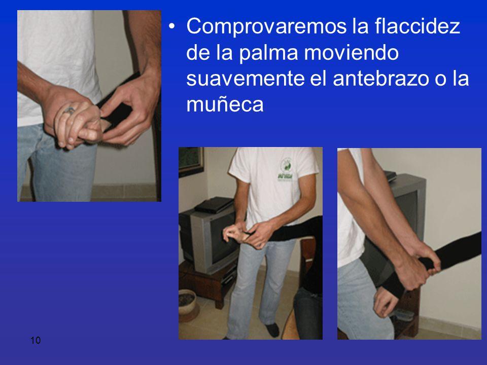 10 Comprovaremos la flaccidez de la palma moviendo suavemente el antebrazo o la muñeca