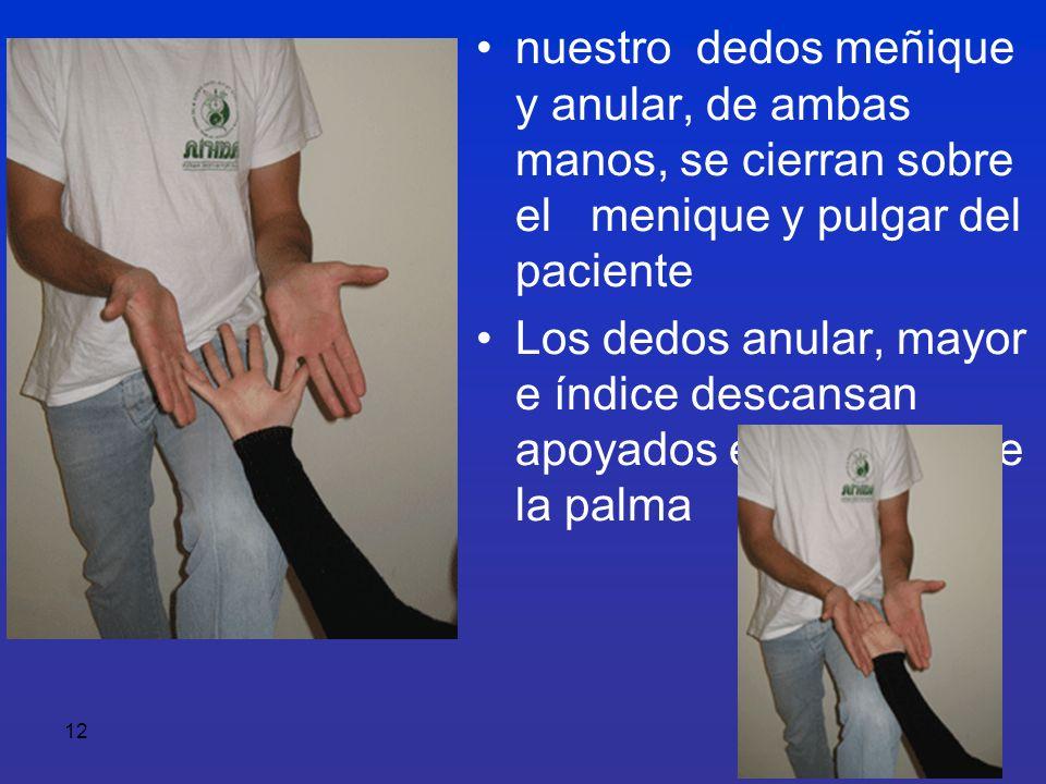 12 nuestro dedos meñique y anular, de ambas manos, se cierran sobre el menique y pulgar del paciente Los dedos anular, mayor e índice descansan apoyad
