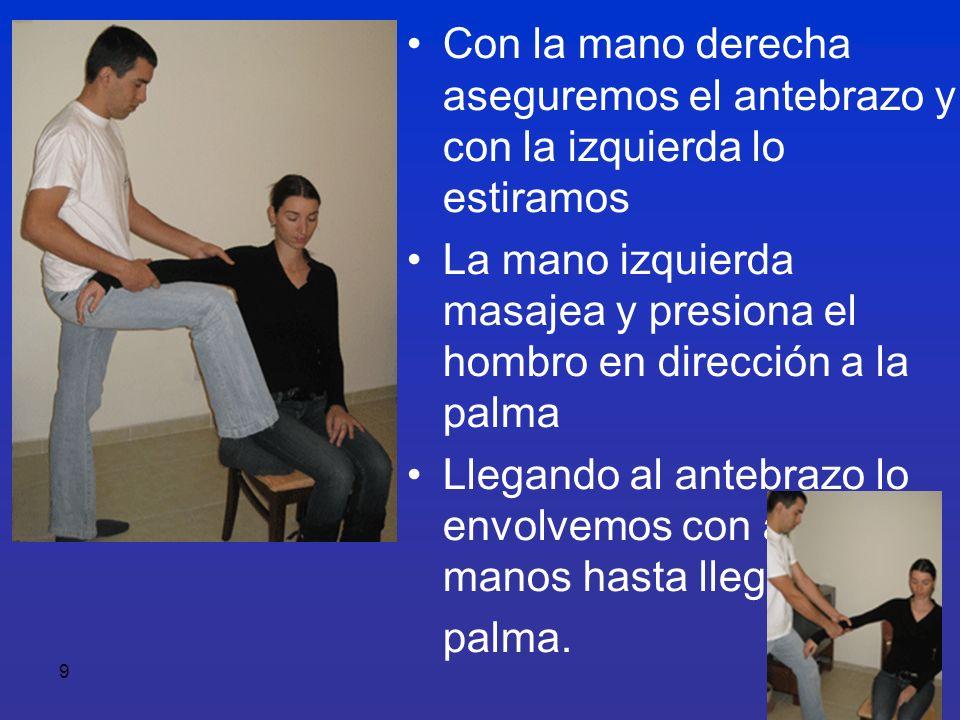 9 Con la mano derecha aseguremos el antebrazo y con la izquierda lo estiramos La mano izquierda masajea y presiona el hombro en dirección a la palma L