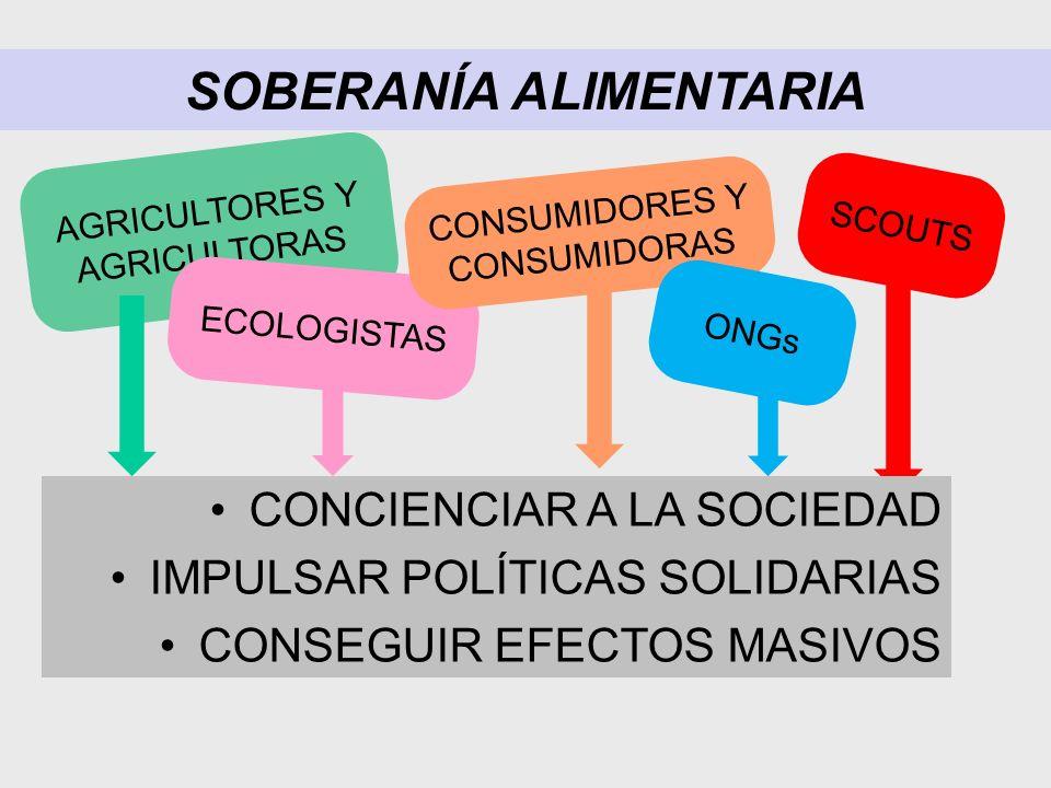 SOBERANÍA ALIMENTARIA AGRICULTORES Y AGRICULTORAS ECOLOGISTAS CONSUMIDORES Y CONSUMIDORAS ONGs SCOUTS CONCIENCIAR A LA SOCIEDAD IMPULSAR POLÍTICAS SOLIDARIAS CONSEGUIR EFECTOS MASIVOS