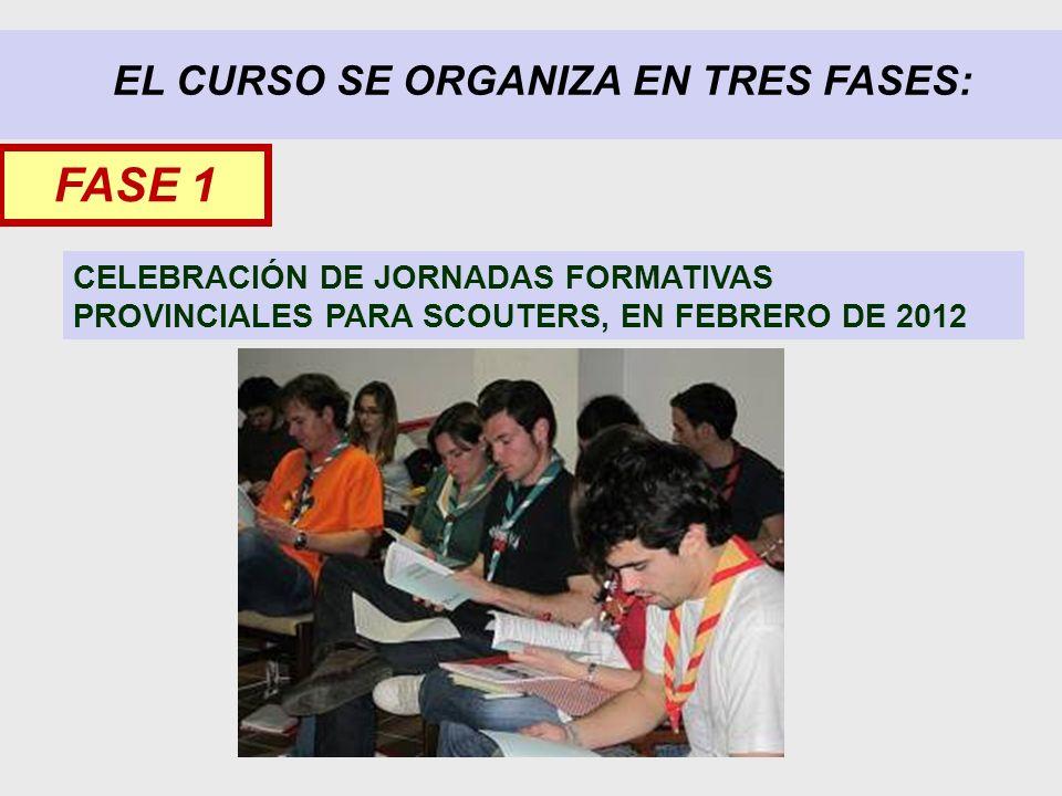 EL CURSO SE ORGANIZA EN TRES FASES: CELEBRACIÓN DE JORNADAS FORMATIVAS PROVINCIALES PARA SCOUTERS, EN FEBRERO DE 2012 FASE 1