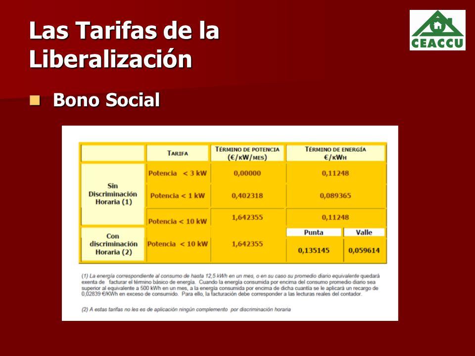 Las Tarifas de la Liberalización Bono Social Bono Social