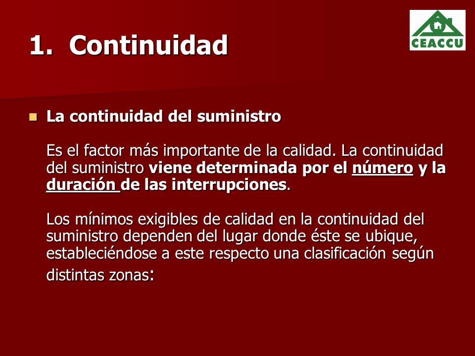 1.Continuidad La continuidad del suministro Es el factor más importante de la calidad.