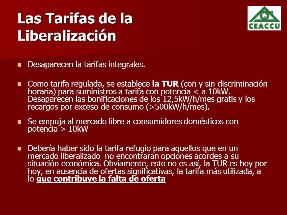 Las Tarifas de la Liberalización Desaparecen la tarifas integrales.