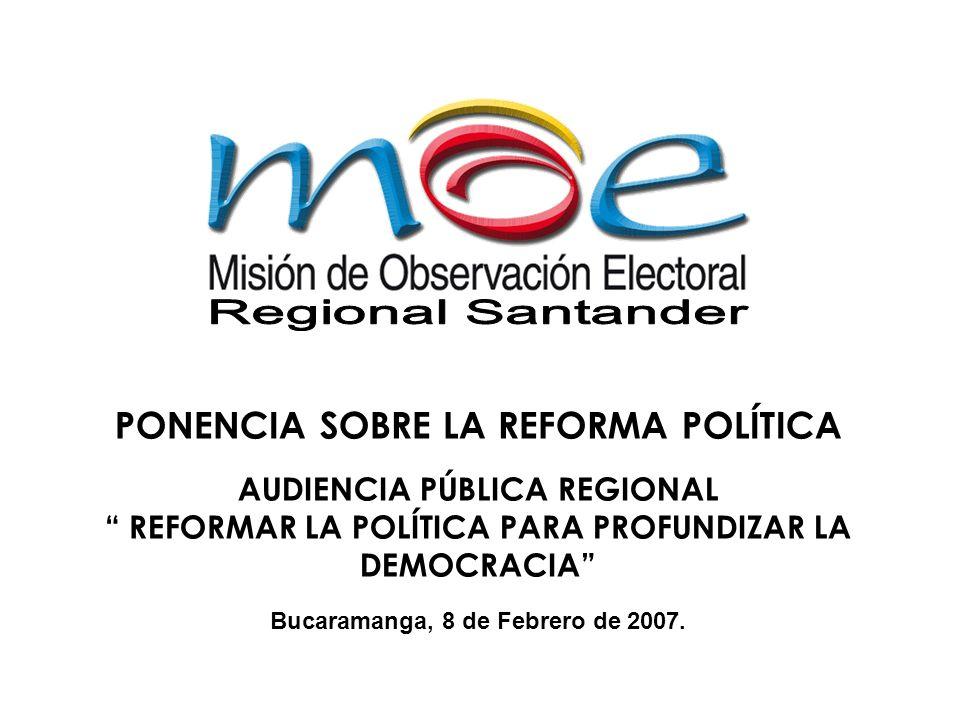 PONENCIA SOBRE LA REFORMA POLÍTICA AUDIENCIA PÚBLICA REGIONAL REFORMAR LA POLÍTICA PARA PROFUNDIZAR LA DEMOCRACIA Bucaramanga, 8 de Febrero de 2007.