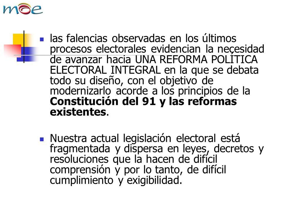 las falencias observadas en los últimos procesos electorales evidencian la necesidad de avanzar hacia UNA REFORMA POLÍTICA ELECTORAL INTEGRAL en la que se debata todo su diseño, con el objetivo de modernizarlo acorde a los principios de la Constitución del 91 y las reformas existentes.