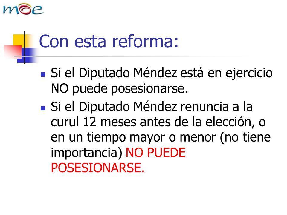 Con esta reforma: Si el Diputado Méndez está en ejercicio NO puede posesionarse.