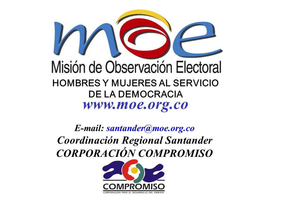 HOMBRES Y MUJERES AL SERVICIO DE LA DEMOCRACIA E-mail: santander@moe.org.co Coordinación Regional Santander CORPORACIÓN COMPROMISO www.moe.org.co