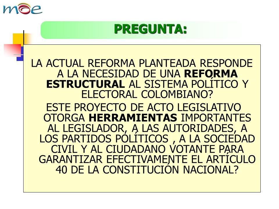 PREGUNTA: LA ACTUAL REFORMA PLANTEADA RESPONDE A LA NECESIDAD DE UNA REFORMA ESTRUCTURAL AL SISTEMA POLÍTICO Y ELECTORAL COLOMBIANO.