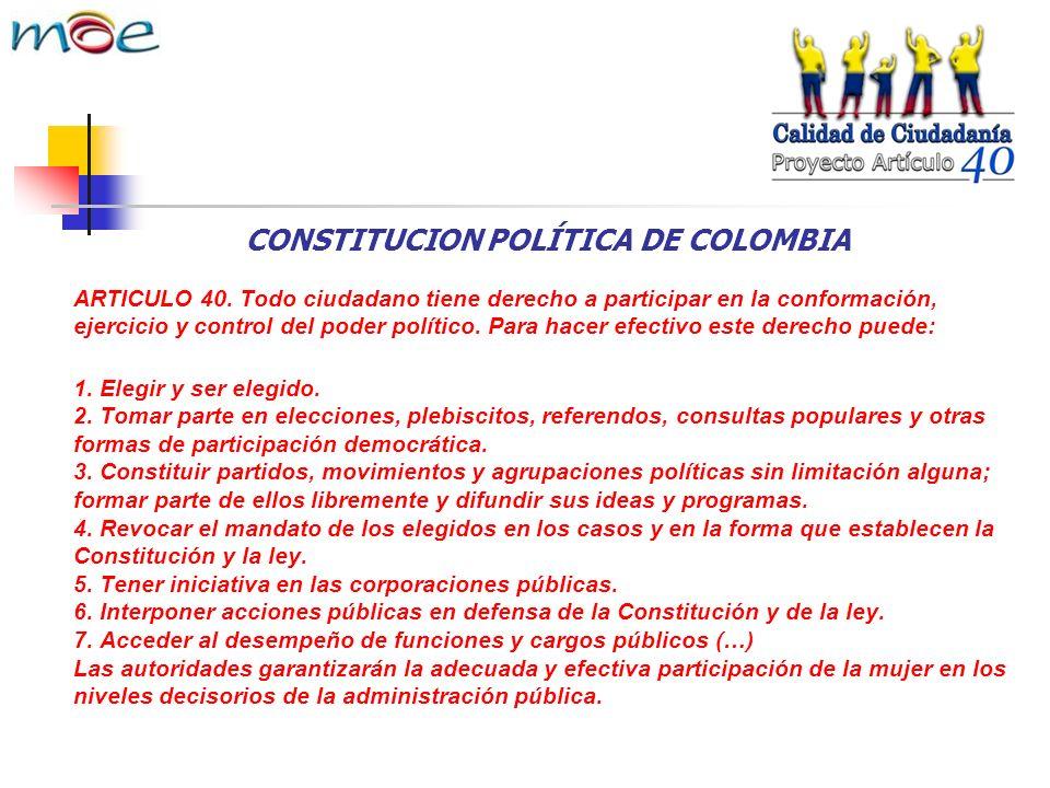 CONSTITUCION POLÍTICA DE COLOMBIA ARTICULO 40.