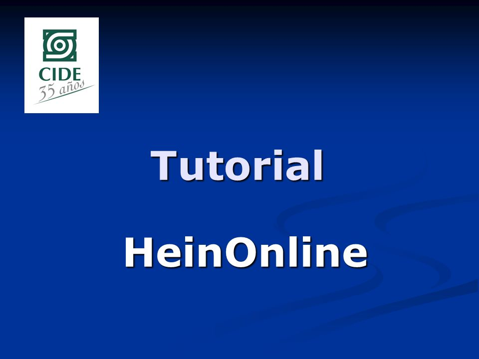 Tutorial HeinOnline