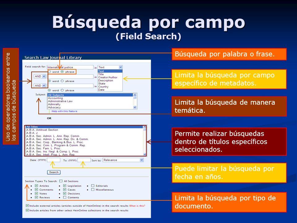 Búsqueda por campo (Field Search) Limita la búsqueda por campo específico de metadatos.