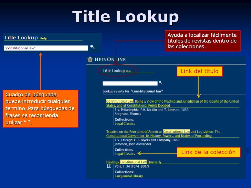 Title Lookup Cuadro de búsqueda, puede introducir cualquier termino.