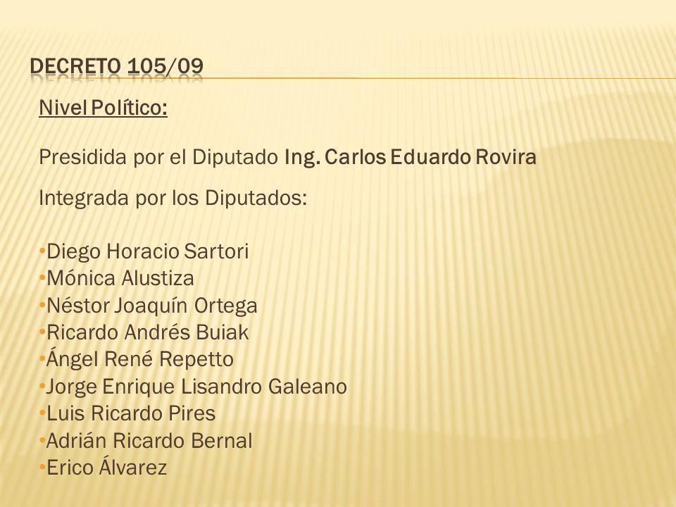 Nivel Político: Presidida por el Diputado Ing.