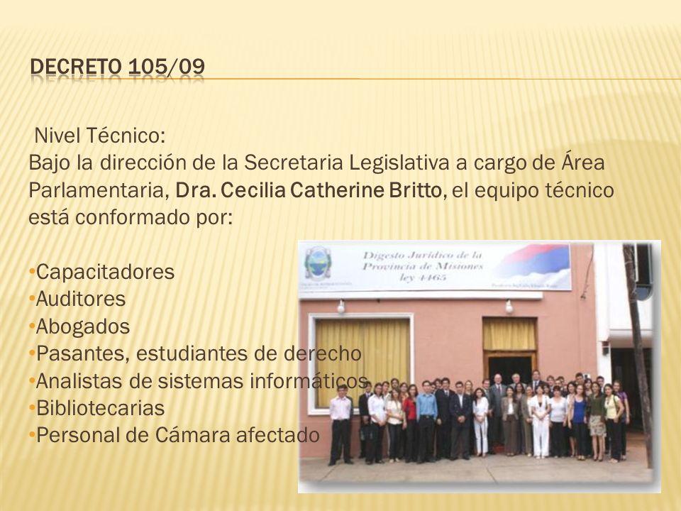 Nivel Técnico: Bajo la dirección de la Secretaria Legislativa a cargo de Área Parlamentaria, Dra.