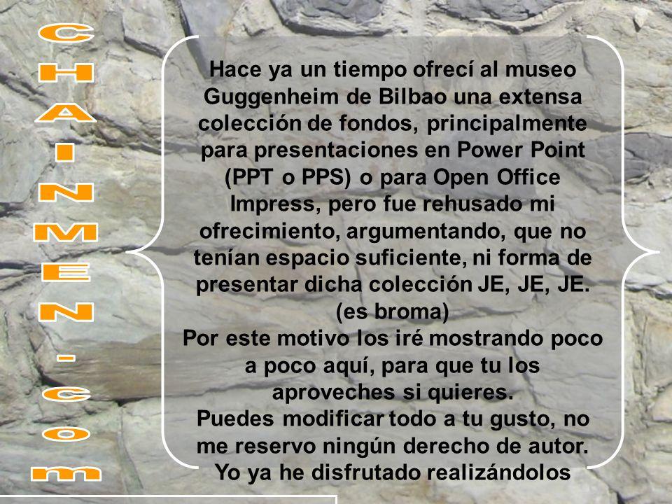 Hace ya un tiempo ofrecí al museo Guggenheim de Bilbao una extensa colección de fondos, principalmente para presentaciones en Power Point (PPT o PPS)