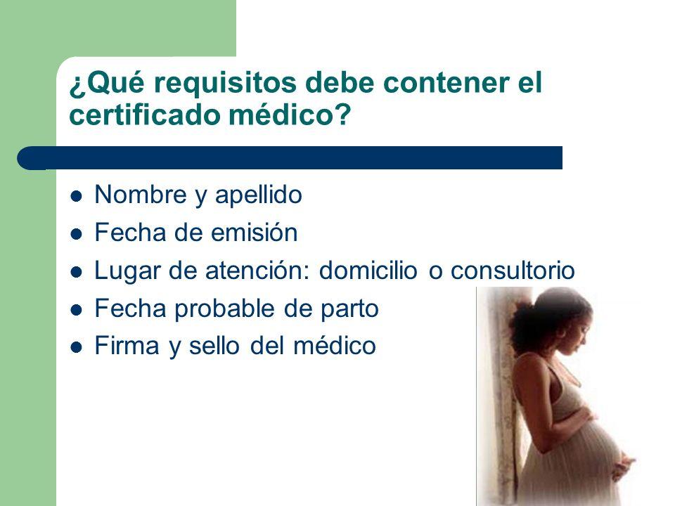 ¿Qué requisitos debe contener el certificado médico.