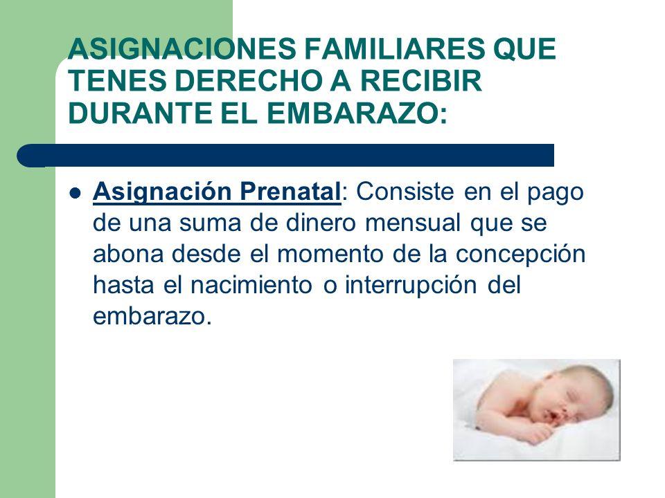 ASIGNACIONES FAMILIARES QUE TENES DERECHO A RECIBIR DURANTE EL EMBARAZO: Asignación Prenatal: Consiste en el pago de una suma de dinero mensual que se abona desde el momento de la concepción hasta el nacimiento o interrupción del embarazo.
