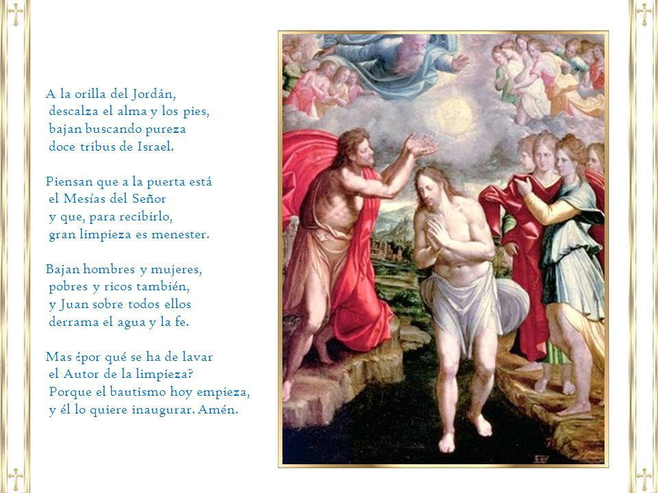 En Marcos y Lucas se anunciaba por boca de Juan un «bautismo» con el Espíritu Santo.