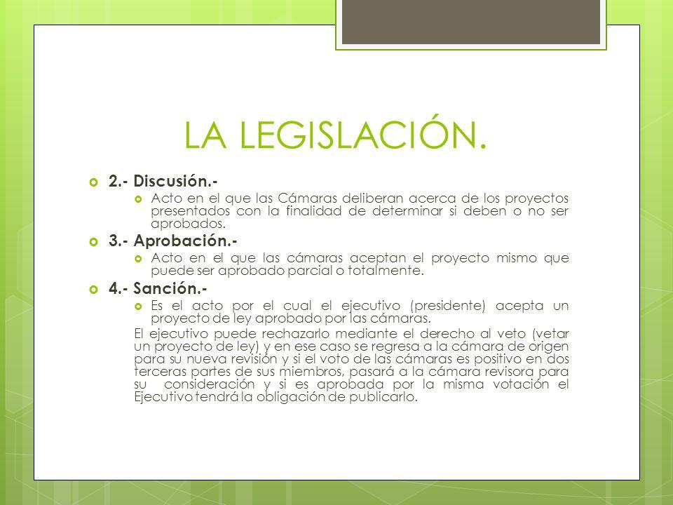 LA LEGISLACIÓN. 2.- Discusión.- Acto en el que las Cámaras deliberan acerca de los proyectos presentados con la finalidad de determinar si deben o no