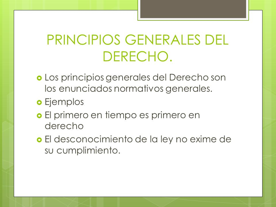 PRINCIPIOS GENERALES DEL DERECHO. Los principios generales del Derecho son los enunciados normativos generales. Ejemplos El primero en tiempo es prime