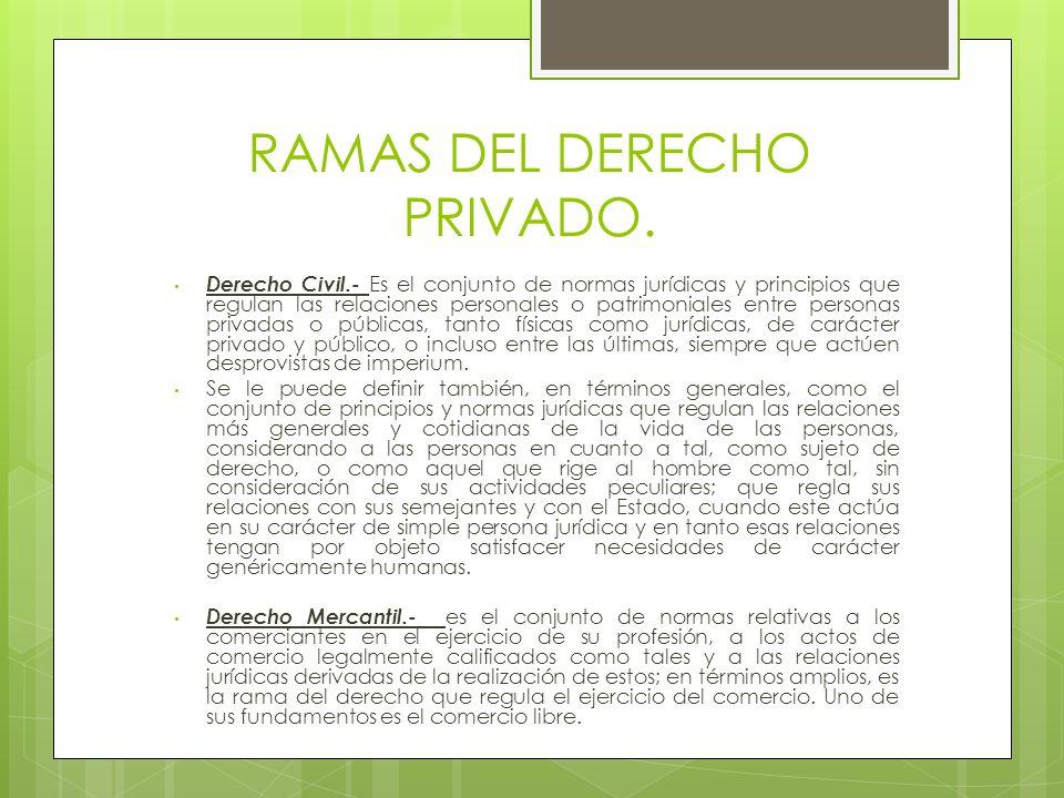 RAMAS DEL DERECHO PRIVADO. Derecho Civil.- Es el conjunto de normas jurídicas y principios que regulan las relaciones personales o patrimoniales entre
