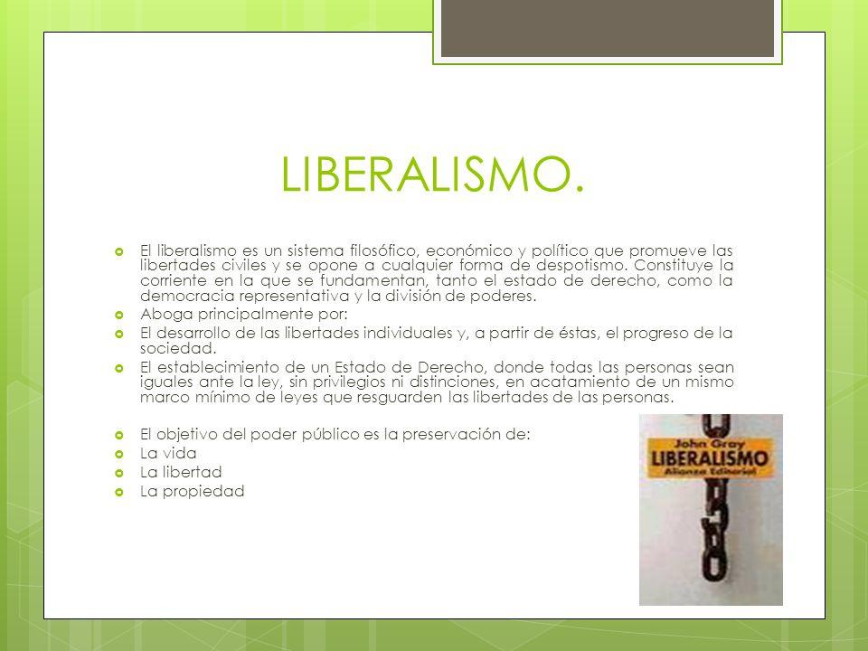 LIBERALISMO. El liberalismo es un sistema filosófico, económico y político que promueve las libertades civiles y se opone a cualquier forma de despoti