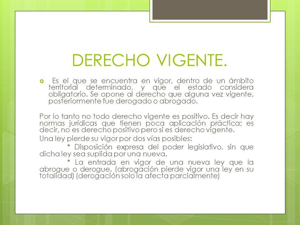 DERECHO VIGENTE.