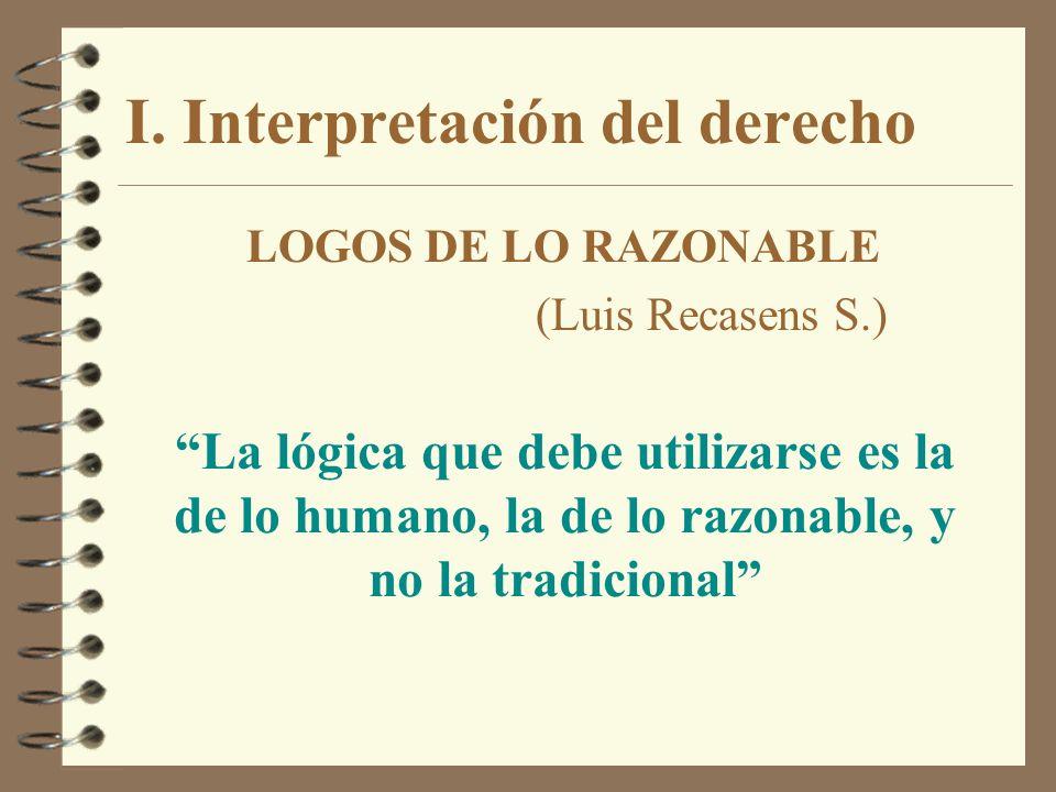 I. Interpretación del derecho LOGOS DE LO RAZONABLE (Luis Recasens S.) La lógica que debe utilizarse es la de lo humano, la de lo razonable, y no la t