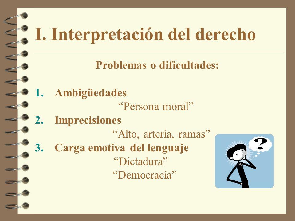 I. Interpretación del derecho Problemas o dificultades: 1.Ambigüedades Persona moral 2.Imprecisiones Alto, arteria, ramas 3.Carga emotiva del lenguaje