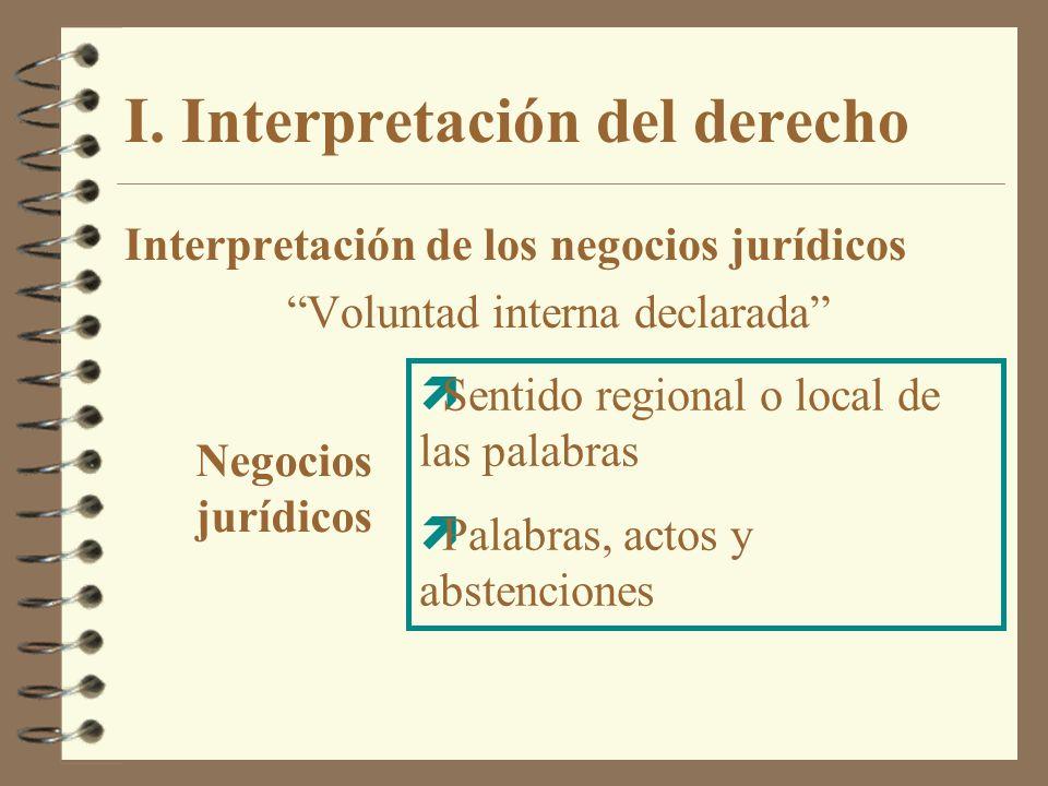 I. Interpretación del derecho Interpretación de los negocios jurídicos Voluntad interna declarada Negocios jurídicos ìSentido regional o local de las