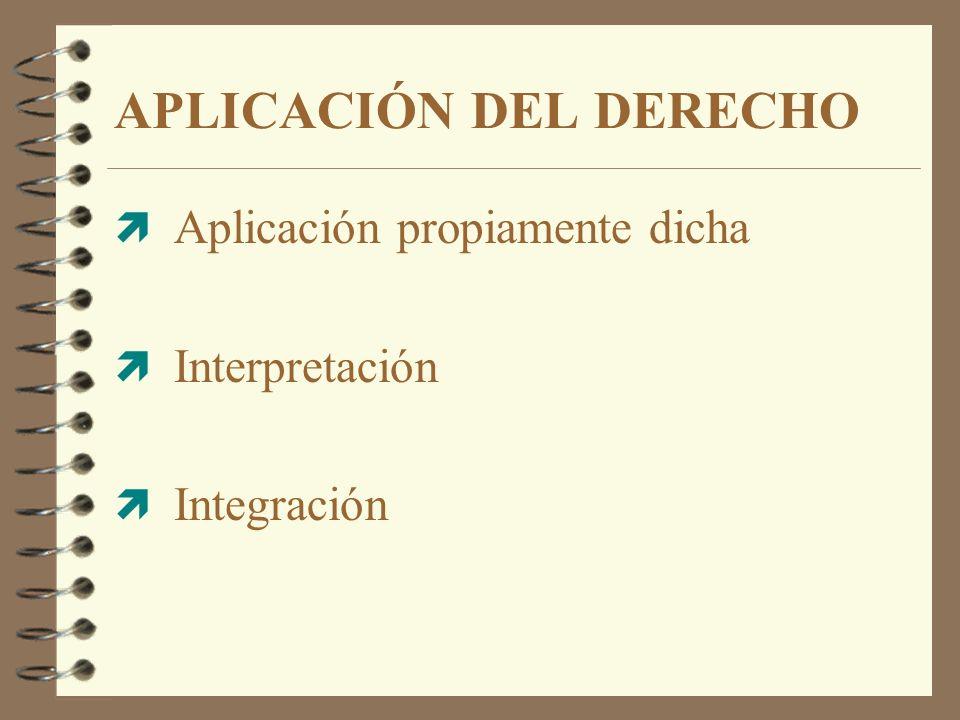 ì Aplicación propiamente dicha ì Interpretación ì Integración