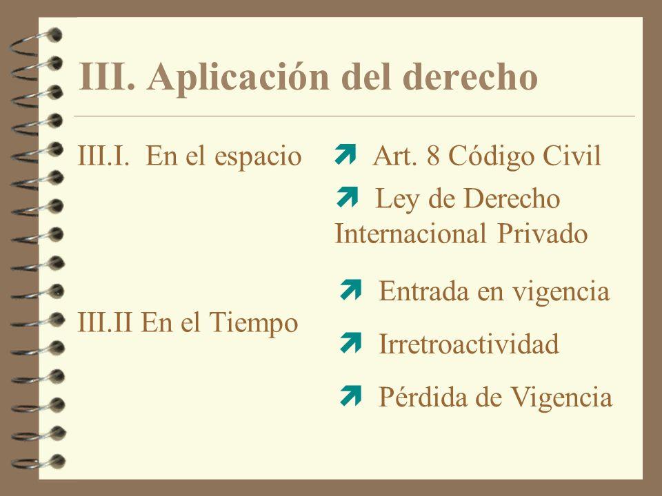 III. Aplicación del derecho III.I. En el espacio Art. 8 Código Civil Ley de Derecho Internacional Privado Entrada en vigencia Irretroactividad Pérdida