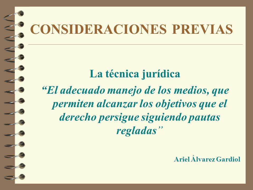 CONSIDERACIONES PREVIAS La técnica jurídica El adecuado manejo de los medios, que permiten alcanzar los objetivos que el derecho persigue siguiendo pa