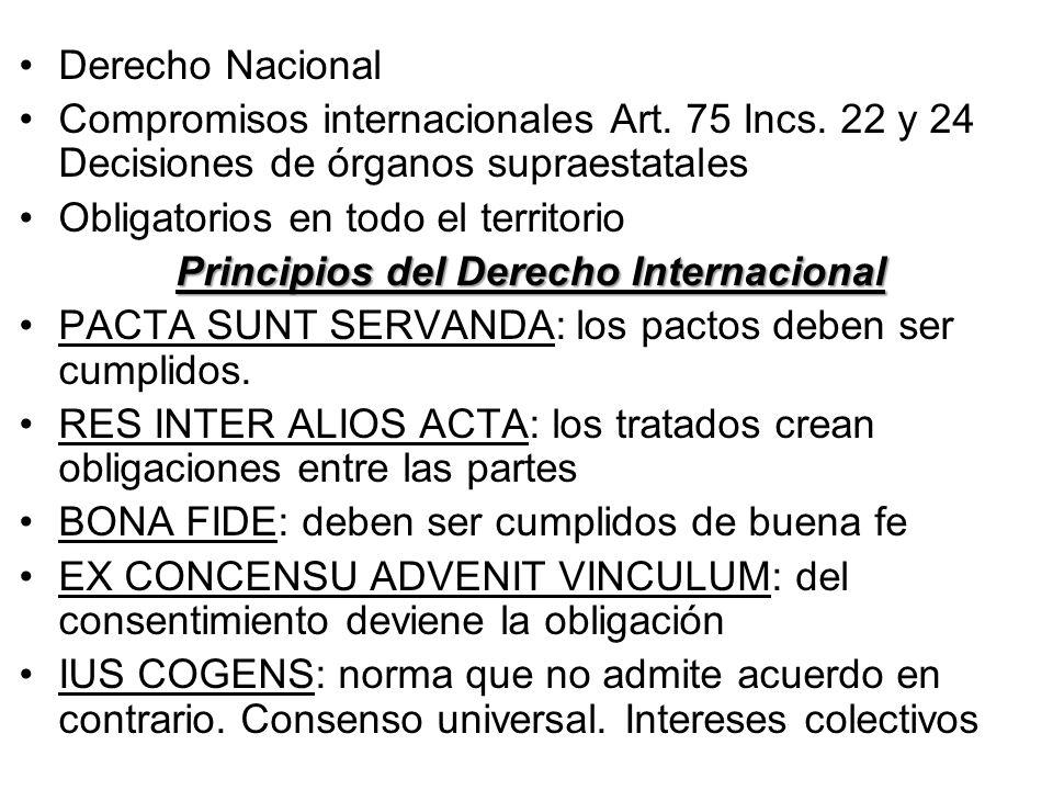 Derecho Nacional Compromisos internacionales Art. 75 Incs. 22 y 24 Decisiones de órganos supraestatales Obligatorios en todo el territorio Principios