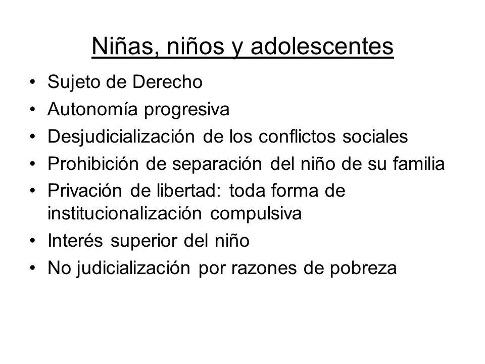 Niñas, niños y adolescentes Sujeto de Derecho Autonomía progresiva Desjudicialización de los conflictos sociales Prohibición de separación del niño de