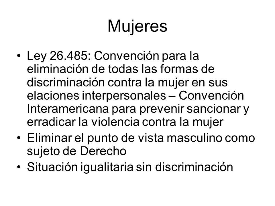 Mujeres Ley 26.485: Convención para la eliminación de todas las formas de discriminación contra la mujer en sus elaciones interpersonales – Convención