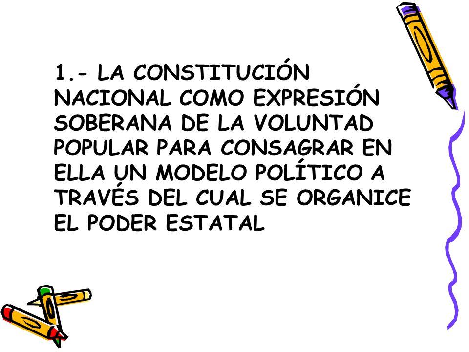 1.- LA CONSTITUCIÓN NACIONAL COMO EXPRESIÓN SOBERANA DE LA VOLUNTAD POPULAR PARA CONSAGRAR EN ELLA UN MODELO POLÍTICO A TRAVÉS DEL CUAL SE ORGANICE EL
