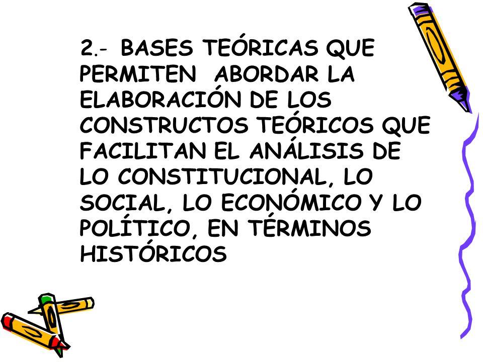 2.- BASES TEÓRICAS QUE PERMITEN ABORDAR LA ELABORACIÓN DE LOS CONSTRUCTOS TEÓRICOS QUE FACILITAN EL ANÁLISIS DE LO CONSTITUCIONAL, LO SOCIAL, LO ECONÓ