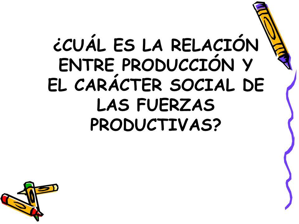 ¿CUÁL ES LA RELACIÓN ENTRE PRODUCCIÓN Y EL CARÁCTER SOCIAL DE LAS FUERZAS PRODUCTIVAS?