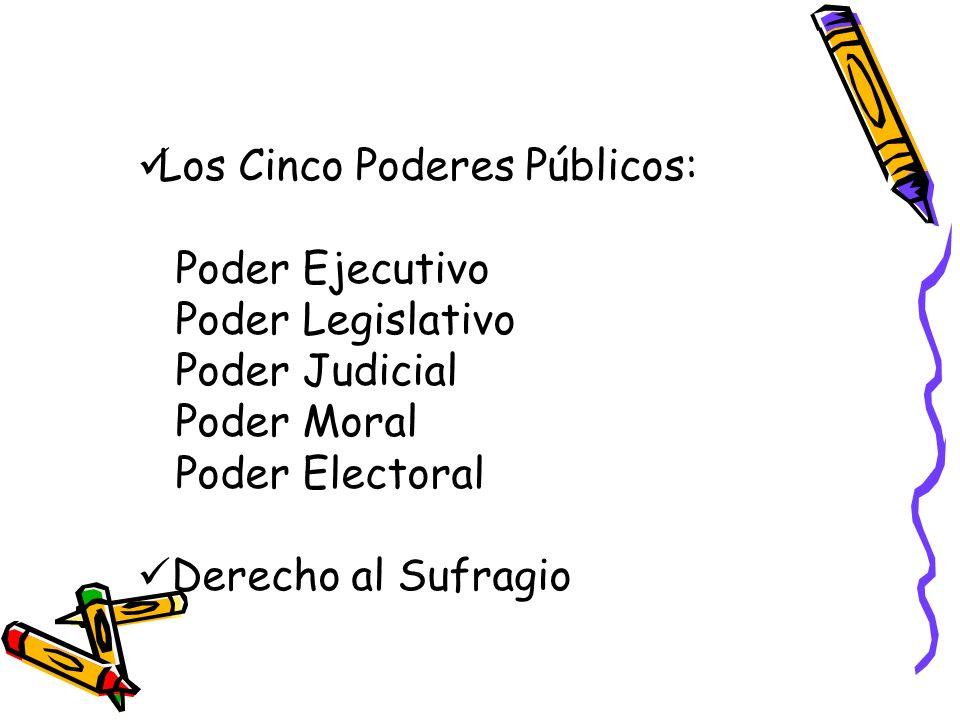 Los Cinco Poderes Públicos: Poder Ejecutivo Poder Legislativo Poder Judicial Poder Moral Poder Electoral Derecho al Sufragio