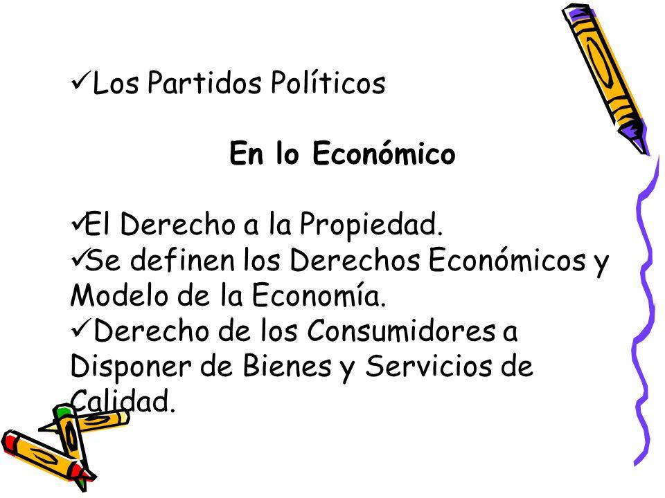 Los Partidos Políticos En lo Económico El Derecho a la Propiedad. Se definen los Derechos Económicos y Modelo de la Economía. Derecho de los Consumido