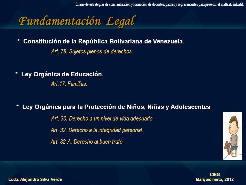 Fundamentación Teórica Lcda. Alejandra Silva Verde Diseño de estrategias de concientización y formación de docentes, padres y representantes para prev
